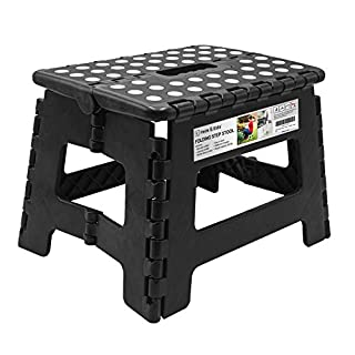 Folding Step Stool - 9 inch Height Foldable Stool For Kids & Adults, Kitchen Garden Bathroom Collapsible Stepping Stool (Black)