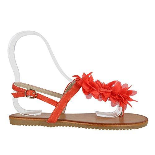 Damen Dianetten   Blumen Sandalen Zehentrenner   Sommer Schuhe Flats    Beach Zierperlen Coral Creme