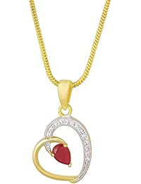 MUCH MORE Collection Austrian Diamond Red Ruby Heart Pendant For Girls And Women