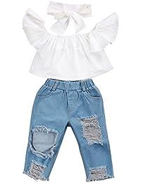 Bekleidung Jeanshose Hirolan Baby Schulterfrei Crop Tops+Loch Denim Latzhose +Bowknot Stirnband Kleinkind Oberbekleidung Kinder jogginganzug Outfits Kleiderset
