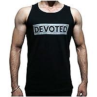 Devoted Men's Gym Stringer Body Building VestBlack- Elegant(Black_Large)