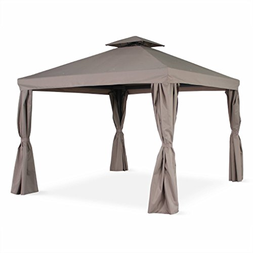 Alice's Garden Pergola Aluminium - Divodorum 3x3m - Toile Taupe - Pergola avec Rideaux, Structure Aluminium