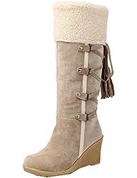 73d3b68f77 AIYOUMEI Damen Keilabsatz Kniehohe Stiefel mit Schnürung Bequem Modern  Keilstiefel