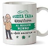 Mugffins Nonno Tazza/Mug - Questa Tazza Appartiene al Miglior Nonno dell'Universo - Idea Regalo Festa del papà/Tazza Miglior Nonno in Ceramica. 350 ml
