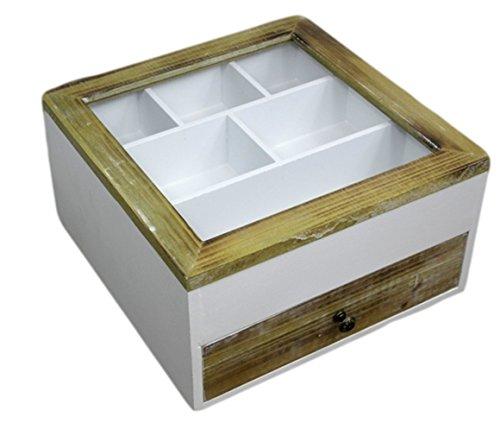 elbmöbel Besteckkasten Kiste Glasdeckel Holz weiß braun Landhaus Schmuckkasten Schublade (Braun (Schublade))