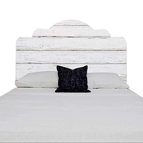 Etiqueta engomada de madera blanca del cabecero del dormitorio de la textura 3D, etiqueta engomada casera de la pared del art déco, desprendible auto-adhesivo,76cm×137cm
