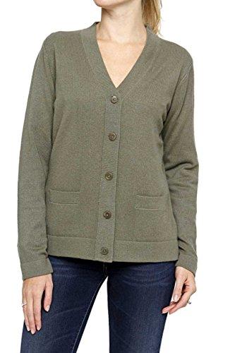 Lai La New York Damen Pullover 100% Kaschmir Cardigan HELEN Pure Cashmere , Farbe: Olivgruen, Größe: 50 (New York-kaschmir-pullover)