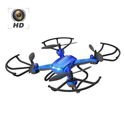 Potensic Drone con HD Camera F181H 2.4G 4CH 6Axis RC Drone RTF mantenimento di altitudine funzione di 3D Capovolge , 2,0 Camera Megapixelsi HD – Blu
