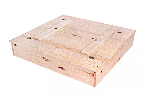 KAGU Sandkasten, Sandkiste Sandbox aus Massivholz mit Deckel und Sitzbank, natural, 40 x 118 x 21 cm, M00004663