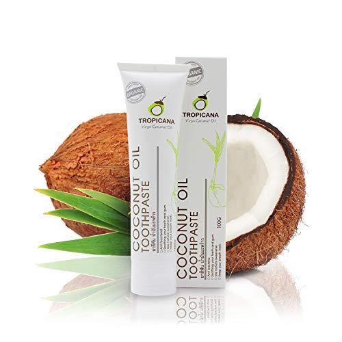 Tropicana Oil Zahncreme Naturkosmetik mit Kokosöl 100g | Zahnaufhellung | Zahnpasta Ohne Fluorid&Aluminium Für Empfindliches Zahnfleisch | Vegan | Antibakteriell Fuoridfrei | Für Kinder&Erwachsene