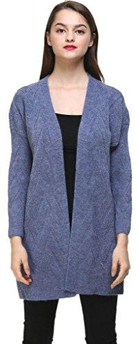 Vogueearth Fashion Warm Femme's Ladies Longue Manche Twist Knit Longue Sweater Chandail Tricots Open Cardigan Bleu