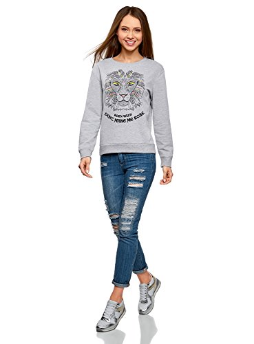 oodji Ultra Damen Baumwoll-Sweatshirt mit Aufdruck Grau (2029Z)