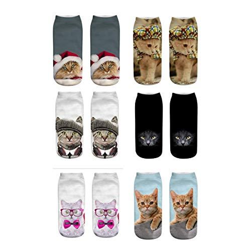 Meiping Unisex Kreative Socken 3D Katze Druckte Muster Knöchel Socken Low Cut Socken für Damen Herren Socken -