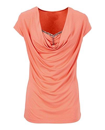 Smile YKK T-shirt Eté Femme Chemise Manches Courtes Blouse Top Haut Casual Grande Taille Mode Rouge