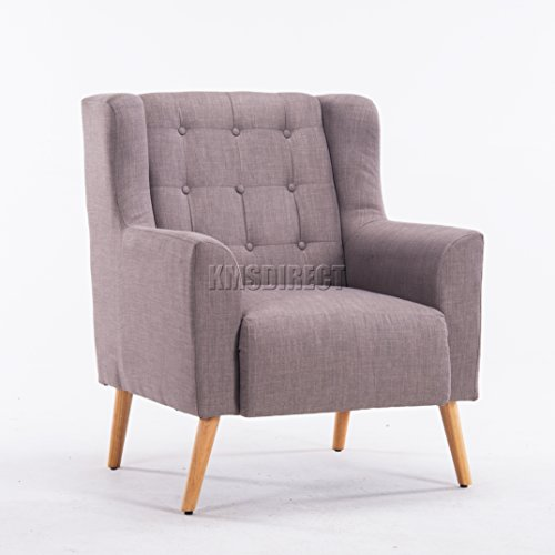 FoxHunter Linen Fabric Tub Chair Armchair Dining Living Room Lounge Office Modern Furniture Grey TC05 New
