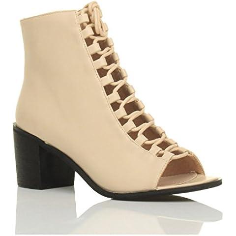 Donna blocchetto tacco medio aperte a punta stringhe sandali stivaletti