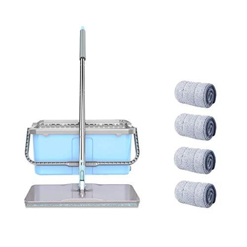 Grad 4 Stoff (Z-TB Spinning und Eimer-Reinigungsset Nass und Trocken mit Doppeltem Verwendungszweck Rebound 360 Grad Rotierender Haushalts-Blauer Stoff * 4, grau, a)