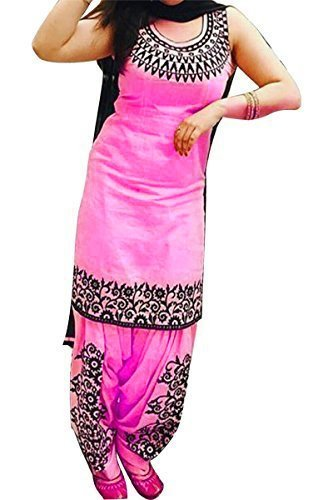 Shree Impex Women\'s Embroidered Cotton Pink Semi stitched Patiala Salwar Suit