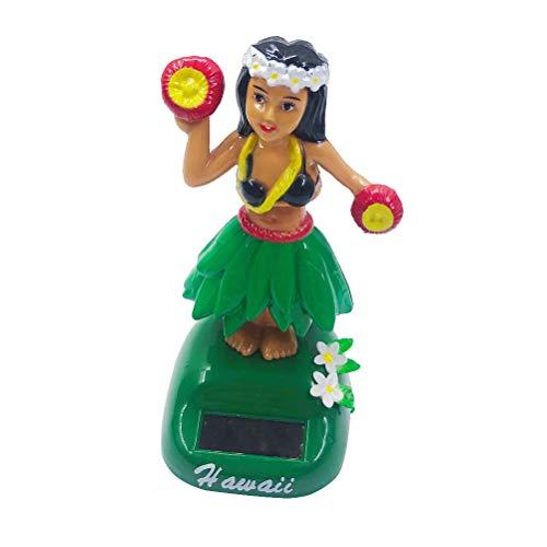 Amosfun Energía Solar Juguete de Muñeca Hawaiana Figura Oscilante de Bailarina Ornamento de Salpicadero Bailante Juguete Decorativo (Verde)