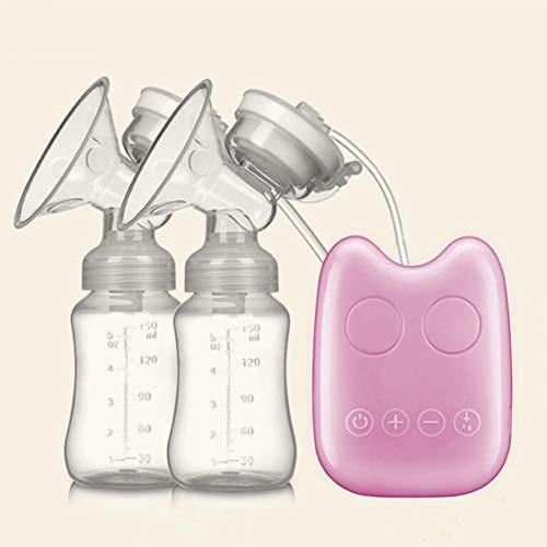 QWER Tire-Lait Électrique - Pompe d'allaitement en Silicone Double Tube Batterie Intégrée Confortable Naturelle,Pink