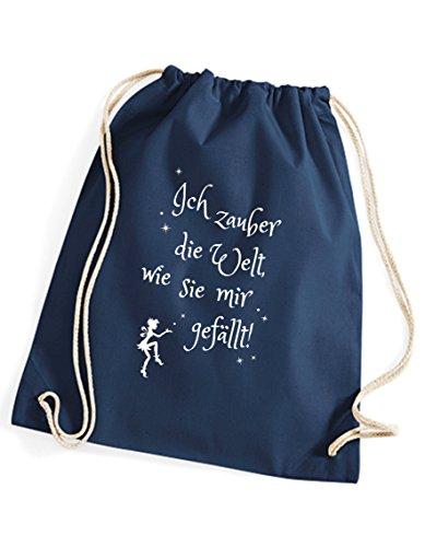 Spruch Ich zauber Mir die Welt Turnbeutel/Rucksack/Jutesack/Sportbeutel/Gymsack Bedruckt mit Motiv von 3 Elfen für Damen u. Mädchen - blau -