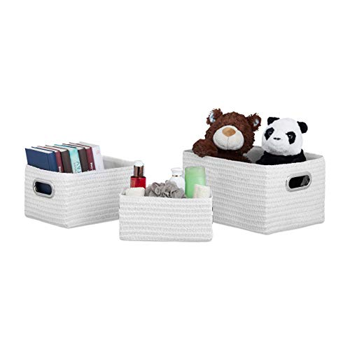 Relaxdays Aufbewahrungskörbe 3er Set, Korb-Optik, robust, Aufbewahrungsboxen f. Bad, 31 L, als stabiler Regalkorb, weiß -