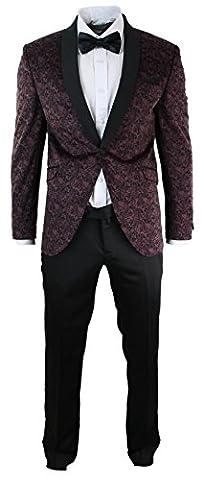 Mens Slim Fit Velvet Paisley Blazer & Trouser Tuxedo Dinner Suit Brown Black
