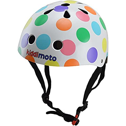 Kiddimoto Pastel Dotty Medium - Casco de ciclismo infantil para bicicleta BMX, color multicolor ( 53 - 58 cm