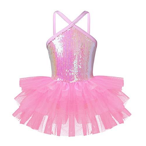 Tiaobug Ballettkleid mit Tütü Tutu Mädchen Ballettanzug Spagetti-Träger Pailetten Kleid Ballett Trikot Tanz Body Gymnastik Turnanzug Kostüm für Kinder gr. 98-140 Rosa 104(Brust 56cm)