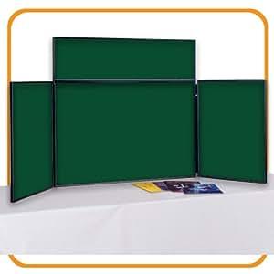 Tableau de présentation pliant 3 panneaux pour exposition école conférence ou bureau Petit format green with black frame