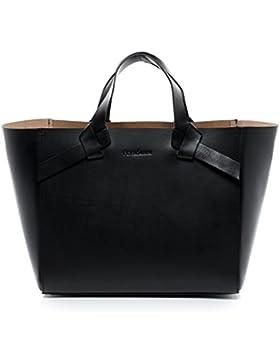 FEYNSINN Handtasche ELIN - Henkeltasche - Damentasche festes Material - echt Sattelleder schwarz
