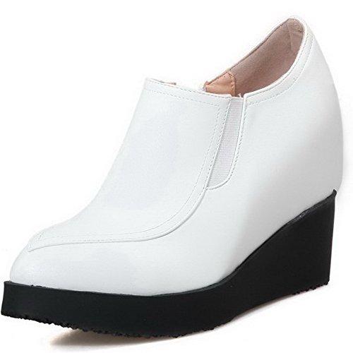 AgooLar Haut Couleur Zip Légeres Cuir Talon Unie Pointu Chaussures Femme Blanc à PU 00a1w