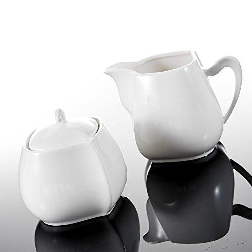 MALACASA, Serie Elvira, 3-teilig Porzellan Milch und Zucker Set mit Deckel, Milchkännchen Zuckerdose Milch- & Zuckerbehälter Küchenhelfer