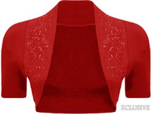 new ladies beaded short sleeve shrug sequin detail bolero crop cardigan top (36/38, Red)