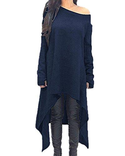 ZANZEA Damen Unregelmäßige Strick Oversize Langarm Pullikleid Longshirt Top Minikleid Dunkelblau EU 36/Etikettgröße S - Gothic-damen-sweatshirt