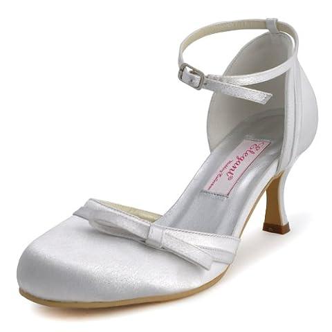 ElegantPark R001 Escarpins Noueds bout rond Bride cheville Satin Femme Chaussures de Mariage mariee ivoire 41