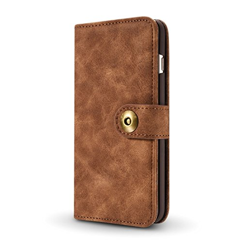 Phone Case & Hülle Für iPhone 6 u. 6s, Retro magnetischer horizontaler Schlag-Leder-Kasten mit Kartenschlitzen u. Mappe u. Foto-Rahmen u. Abnehmbare rückseitige Abdeckung ( Color : Red ) Brown