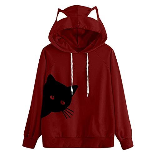 Itisme donna maglioni donna, camicetta a maniche lunghe con cappuccio gatto felpa con cappuccio e pullover