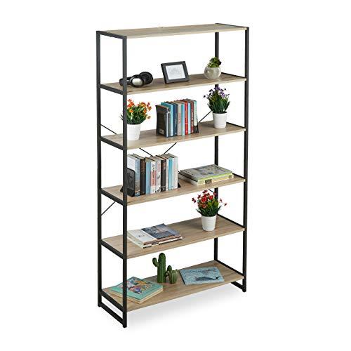 Relaxdays Standregal Industrial, hohes Bücherregal, offenes Design mit 6 Fächern, HBT: 180x95x35 cm, Eiche/Metall, braun Sonoma Pfanne