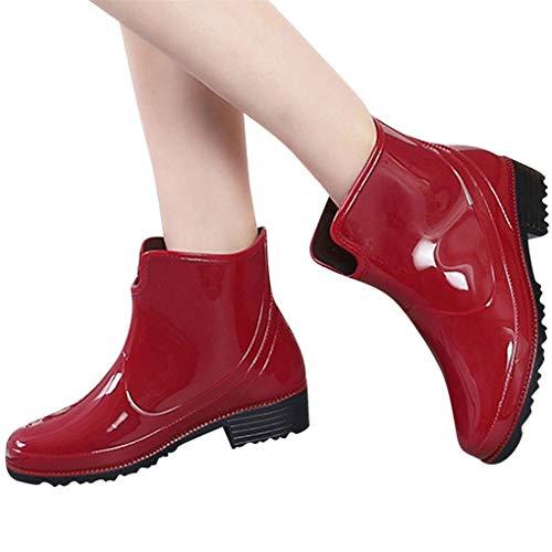 Dorical Kurzschaft Stiefel für Damen/Frauen Gummistiefel mit Blockabsatza Gummistiefeletten Regenstiefel Wasserdicht Boots Rain Boot Schlupfstiefel(Rot,38 EU)