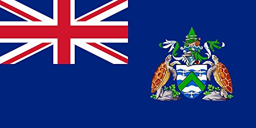 magFlags Flagge: Large Ascension Island PD | Coat of arms of Ascension Island is Traced from The bitmap Available at The Website of Government of Ascension Island | Querformat Fahne | 1.35m² | (Ascension-karten)