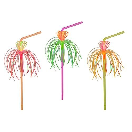 Flexible Trinkhalme FLOWER (neonfarben / 24 cm - 50 Stück) PARTY - HIGHLIGHT