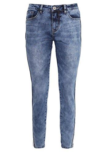 Sublevel Damen Skinny Jeans mit Nieten | Denim Hose mit Seitlichem Kontraststreifen Blue S