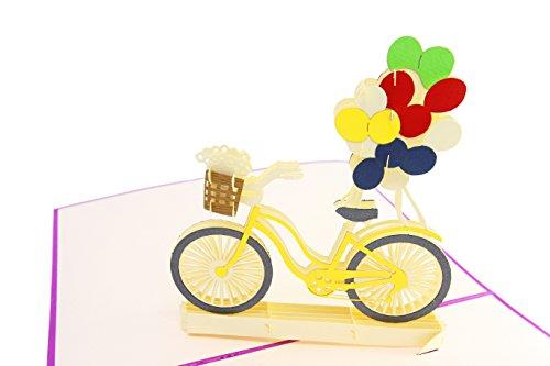 Poplife Fahrrad & Luftballons, Springtime 3D Pop up Grußkarte für alle Anlässe, Muttertag, Vatertag, Bike, Happy Birthday, Get Well, Danke, Hochzeit, Baby Dusche Karte-flach zusammenklappbar FO