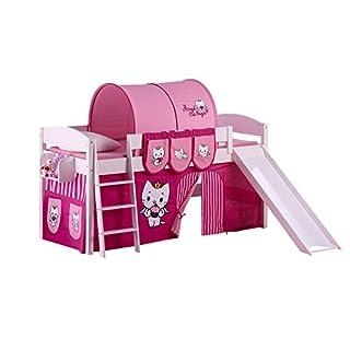 Lilokids Spielbett IDA 4105 Angel Cat Sugar-Teilbares Systemhochbett weiß-mit Rutsche und Vorhang Kinderbett, Holz, 208 x 220 x 113 cm