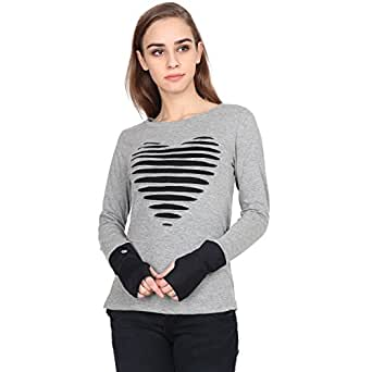 Bazoom Women's Cotton Centre Heart L/S Thumb Hole Top