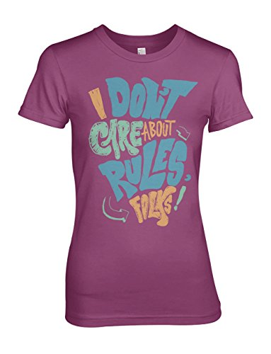 I Don't Care About Rules Folks Damen T-Shirt Pink