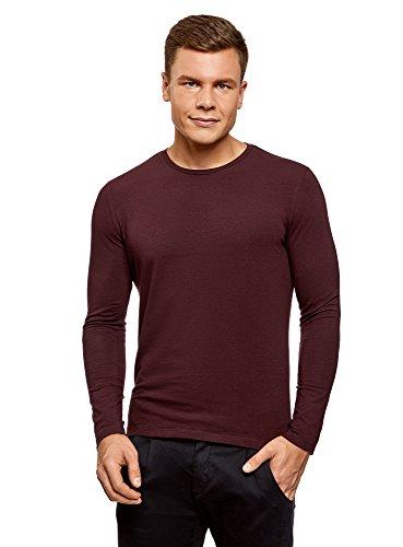 oodji Ultra Herren Tagless Langarmshirt Aus Baumwolle, Rot, De 52-54/L Herren Leder Rot Shirt
