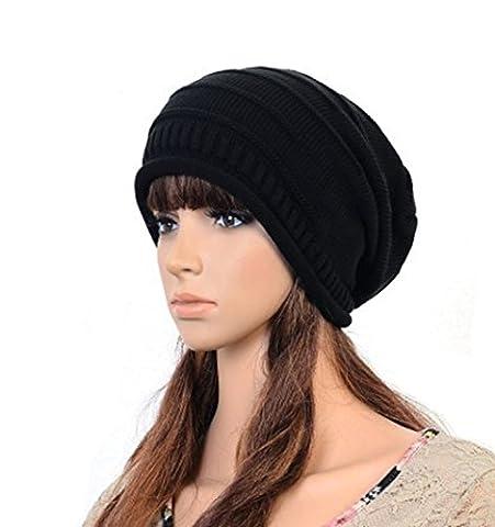 1 Winter Erwärmung Crochet Knit Hat - Soft Stretch Kabel Knit Slouchy Beanie Skull Cap, schwarz (Earflap Knit Cap)