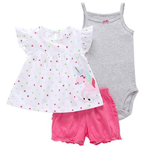 JiAmy Baby Mädchen 3 Stück Bekleidungsset, Kurzarm-Kleid + Shorts + Body Set für 18-24 Monate - Overall 9 Monate